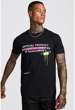 Black Certified Graffiti Front Print T-Shirt