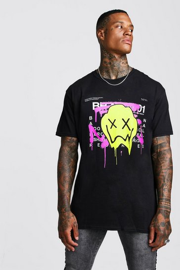 Mens Black Oversized Drip Face Graffiti Print T-Shirt