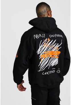 Mens Black Oversized MAN Graffiti Hoodie With Sleeve Print