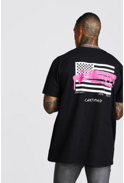 Oversized MAN Graffiti Flag Back Print T-Shirt, Black, HOMBRE