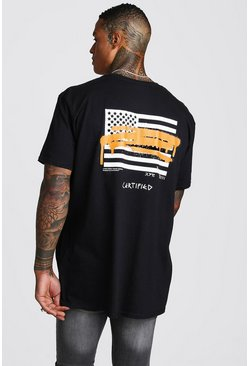 Mens Black Oversized MAN Graffiti Flag Back Print T-Shirt