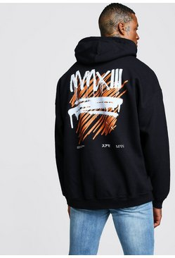 Mens Black Oversized MAN Graffiti MMXIII Back Print Hoodie