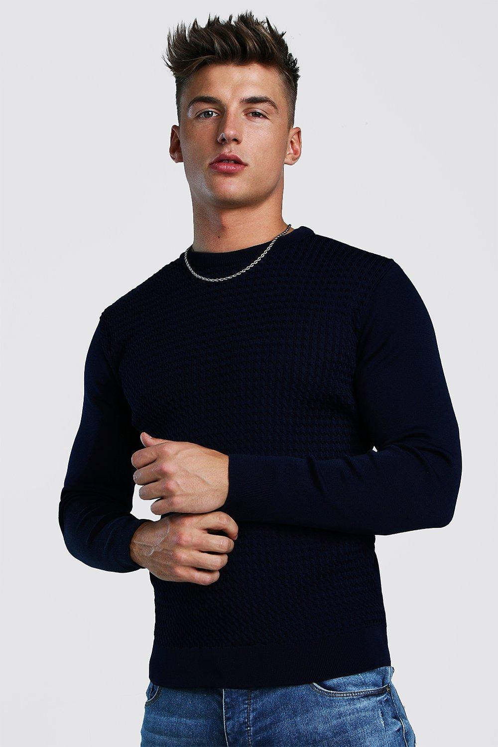 Купить со скидкой Muscle Fit Knitted Jumper With Textured Body