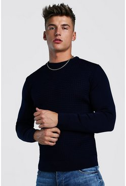Muscle Fit Knitted Jumper With Textured Body, Navy, HERREN