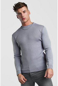 Muscle Fit Knitted Jumper With Textured Body, Silver, HERREN
