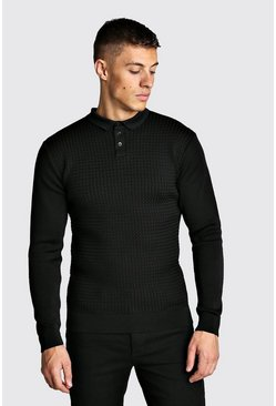 Muscle Fit Knitted Polo With Textured Body, Black, МУЖСКОЕ