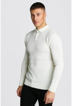 Mens White Muscle Fit Knitted Polo With Textured Body