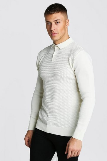 White Muscle Fit Knitted Polo With Textured Body