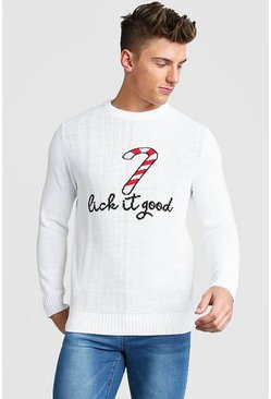 Candy Cane Slogan Christmas Jumper, White, HERREN