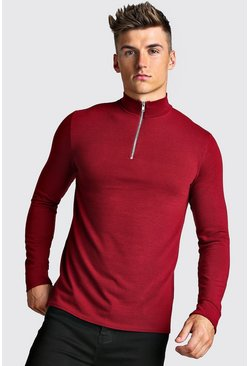 Half Zip Funnel Neck Jumper, Burgundy, Uomo