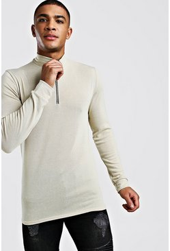 Mens Camel Half Zip Funnel Neck Jumper