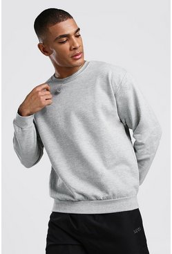 Herr Grey Basic Crew Neck Sweatshirt