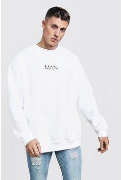 Mens White Oversized Original MAN Print Sweatshirt