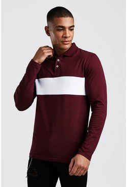 Mens Burgundy Colour Block Muscle Fit Long Sleeve Polo