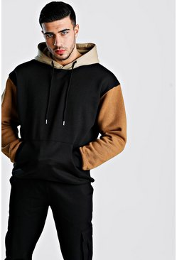 Oversized Colour Block Over The Head Hoodie, Tobacco