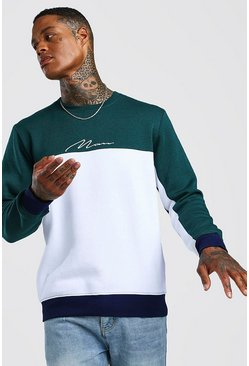 Teal Multi Colour Block MAN Signature Sweater