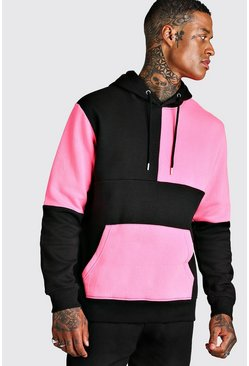 Multi Colour Block Hoodie, Neon-pink