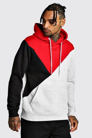 Red Multi Colour Block Hoodie