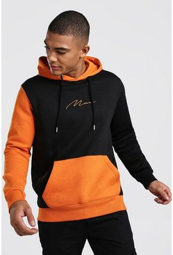 Orange Multi Colour Block Man Signature Hoodie