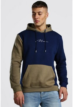 Multi Colour Block Man Signature Hoodie, Khaki