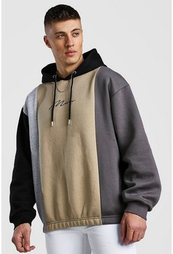 Oversized Multi Colour Block Man Signature Hoodie, Taupe