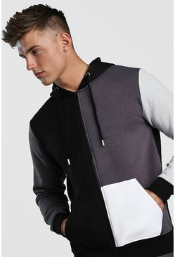 Multi Colour Block Hoodie, Charcoal