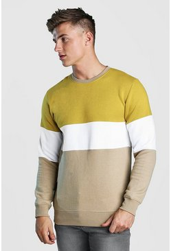 Multi Colour Block Sweater, Taupe