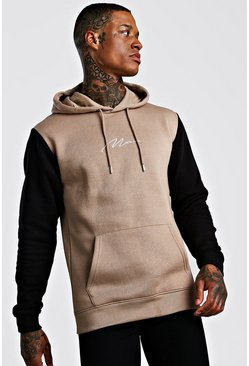 Colour Block Man Signature Hoodie, Taupe