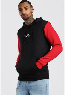 Herr Red Colour Block Original MAN Hoodie