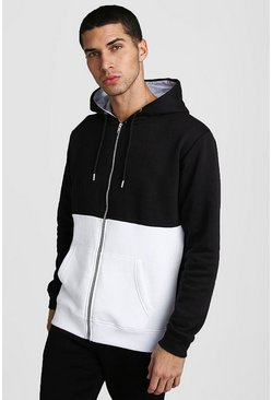 Herr Black Colour Block Hoodie