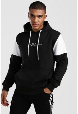 Black Colour Block MAN Signature Hoodie