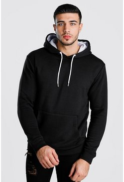 Black Colour Block Hoodie With Contrast Hood