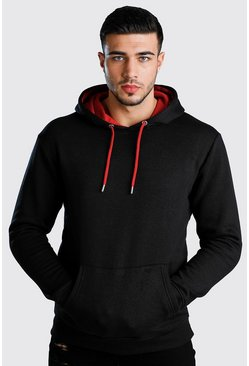 Red Colour Block Hoodie With Contrast Hood
