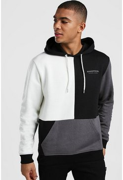 Mens Ecru Multi Colour Block Man Official Hoodie