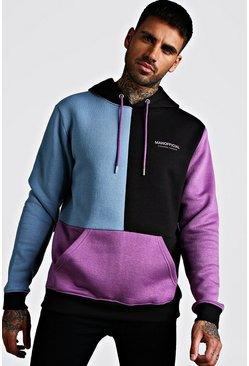 Blue Multi Colour Block Man Official Hoodie