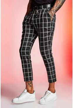 Mens Black Mono Tartan Cropped Smart Trouser