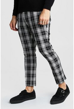 Mono Tartan Chain Detail Cropped Trouser, Black, МУЖСКОЕ