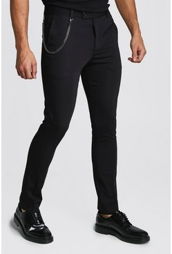 Black Plain Skinny Fit Smart Pants With Chain