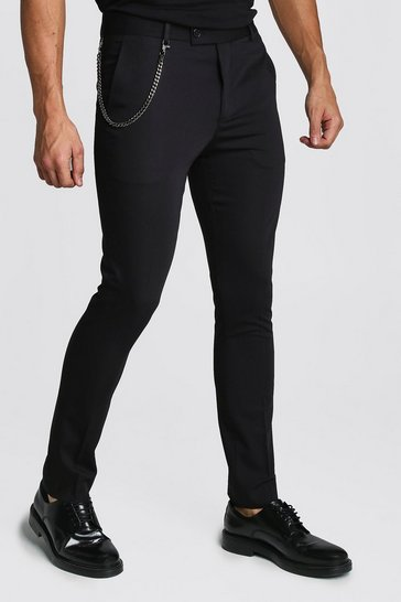 Black Plain Skinny Fit Smart Trouser With Chain