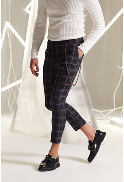Mens Navy Check Skinny Fit Cropped Smart Trouser
