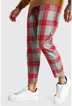 Grey Large Scale Tartan Smart Jogger Trouser