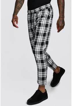Mono Tartan Smart Jogger Trouser, Black, Uomo