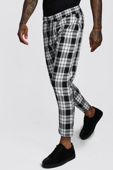 Mens Black Mono Tartan Smart Jogger Trouser