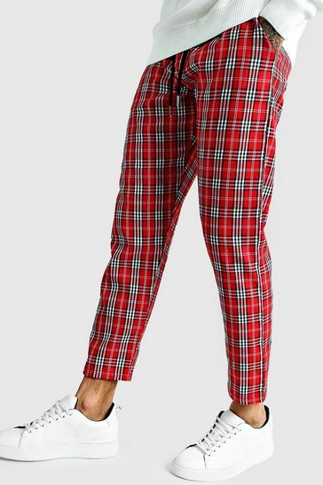 Mens Red Bold Check Smart Jogger Trouser
