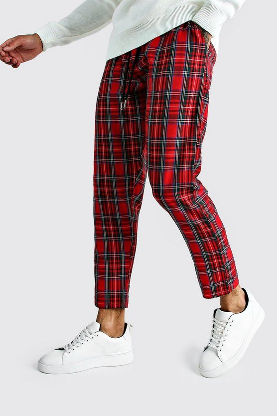 Red Tartan Check Smart Cropped Jogger Pants
