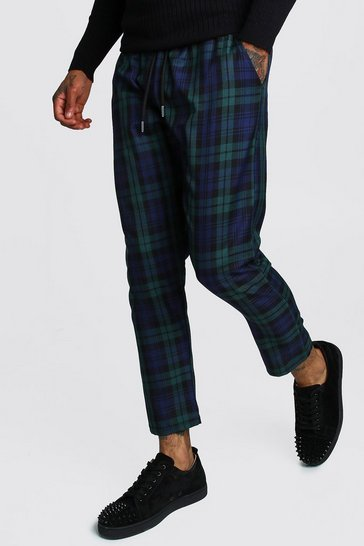 Mens Green Tartan Smart Cropped Jogger Trouser