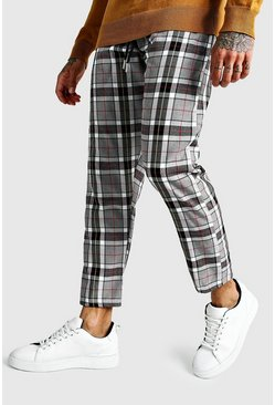 Large Scale Check Cropped Smart Jogger Trouser, Charcoal, Uomo