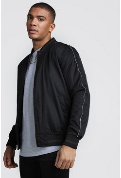 Mens Black Button Through Padded Bomber Jacket