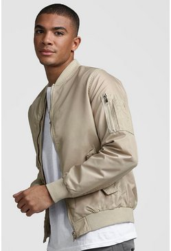 Mens Stone Bomber Jacket With MA1 Pocket