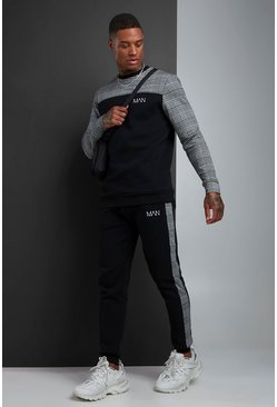 Mens Black MAN Jacquard Panel Sweater Tracksuit